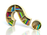 Fototapety Question mark with books - search answer concept