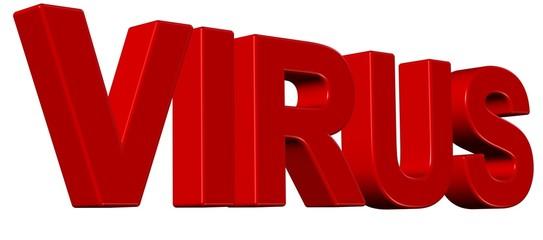 3D Wort rot VIRUS