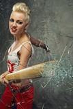 Punk girl broking a glass with a bat poster
