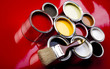 Cans of paint with paintbrush - 32690535