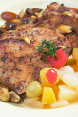 Caribbean style pork chops with tropical fruit