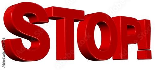 3D Wort rot STOP!