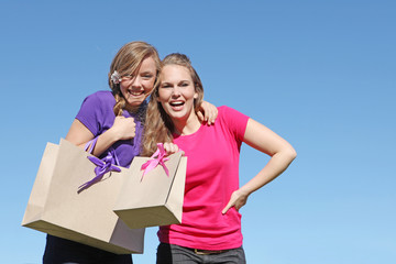 girl teenagers shopping with bag from recycled paper