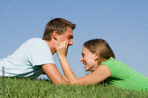 young couple outdoor in summer