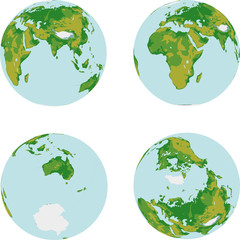 Four globe map 3D on white background