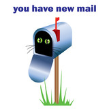 Cat in mailbox - funny illustration