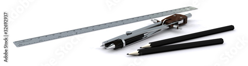 Compass, ruler, pencils. Rende Isolated on a white background