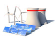 alternative energy 3d concept - Wind solar and nuclear power