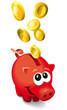 Rotes Sparschwein mit Münzen