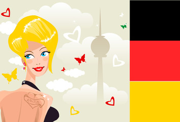 Cute young germany woman on background of Berlin symbol silhouet