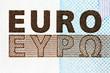 "Inscription ""euro"" from a denomination  (macro)"