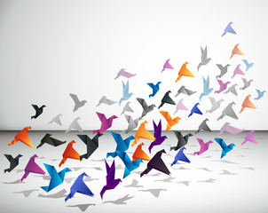 Indoor flight, Origami Birds start to fly in closed space.