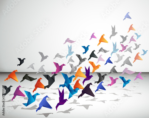Foto op Canvas Geometrische dieren Indoor flight, Origami Birds start to fly in closed space.