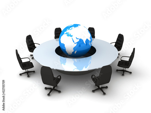 Circle table and earth