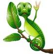 Camaleonte Buffo Cartoon Saluta-Funny Chameleon-Vector