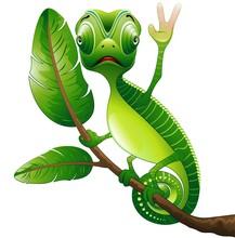 Camaleonte bufor Salute Funny Cartoon Chameleon-Vector