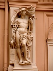 Sculpture of Mercury as architectural decoration