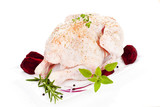Raw whole chicken. Poultry. poster
