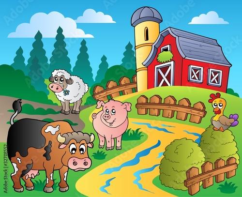 Foto op Canvas Boerderij Country scene with red barn 1