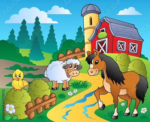 Poster Pony Country scene with red barn 2