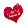 Corazón de papel texto: Congratulations!