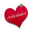 Corazón de papel texto: ¡Felicidades!