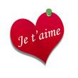 Corazón de papel texto: Je t'aime
