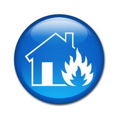 Boton brillante simbolo fire house