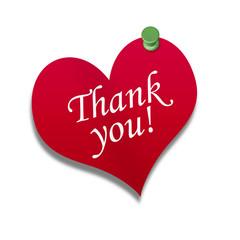 Corazón de papel texto: Thank you!