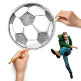 sketch soccer football ball and male