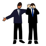 Business symbol white-man giving supportive advice poster