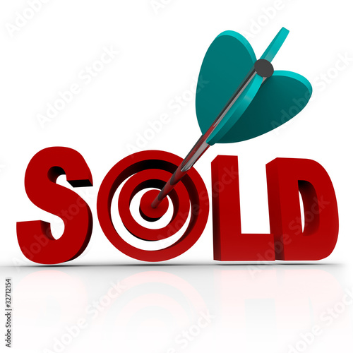 Sold - Arrow in Word Bullseye - Done Deal Transaction