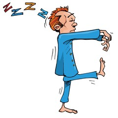 Cartoon sleepwalker with hands held in front