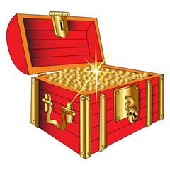 Coffer with gold(en) shining coin