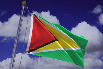Waving Guyanese Flag