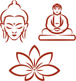 Buddha and Lotus -Symbols of Buddhism . Vector illustration poster
