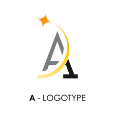 Logo letter A with star # Vector