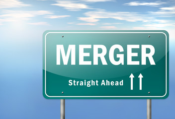 "Highway Signpost ""Merger"""