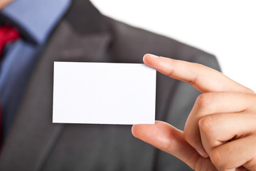 Businessman holding a businesscard
