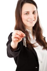 Woman lending keys