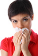 allergy or illness: close-up of young woman with kleenex