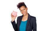African girl with a moneybox poster