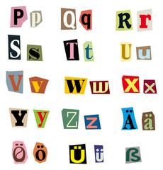 Vektor Buchstaben-Set aus Zeitungsausschnitten