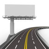 Fototapety asphalted road with billboard. Isolated 3D image