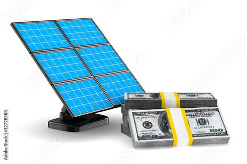 solar battery and cash on white background. Isolated 3d image