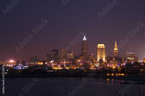 Poster Grote meren Cleveland Skyline at Night