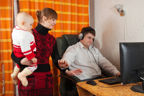 mother and daughter disturbs  father