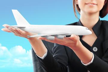 Portrait of young happy woman stewardes