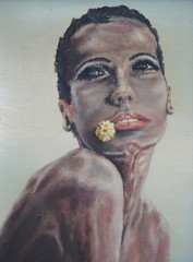 tableau - peinture portrait de belle femme africaine