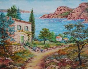 tableau - peinture de paysage méditerranéen